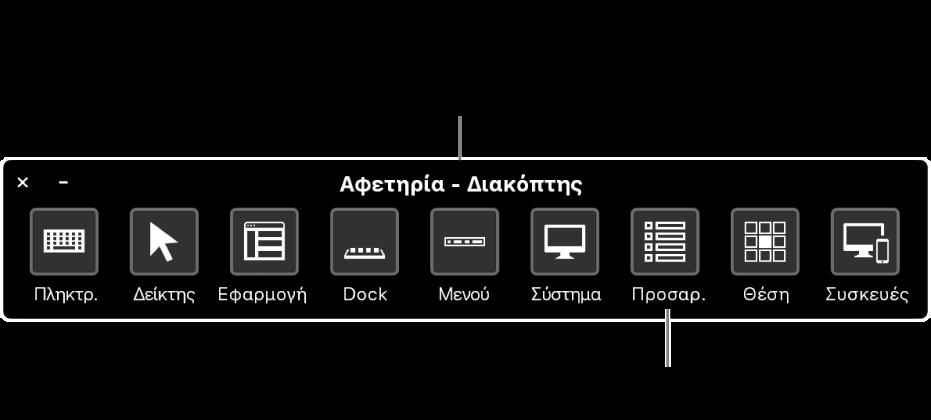 Χρησιμοποιήστε τον πίνακα Αφετηρίας του Διακόπτη ελέγχου για προσομοίωση υλισμικού και για πρόσβαση στη διεπαφή χρήστη. Μπορεί να διατίθενται προσαρμοσμένοι πίνακες για εξειδικευμένες χρήσεις.