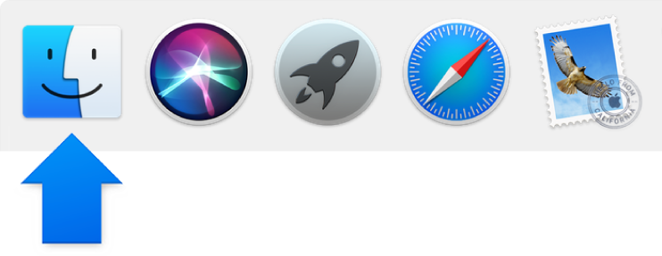 A blue arrow pointing to the Finder icon at the left side of the Dock.