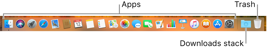 The Dock showing app icons, the Downloads stack icon, and the Trash icon.