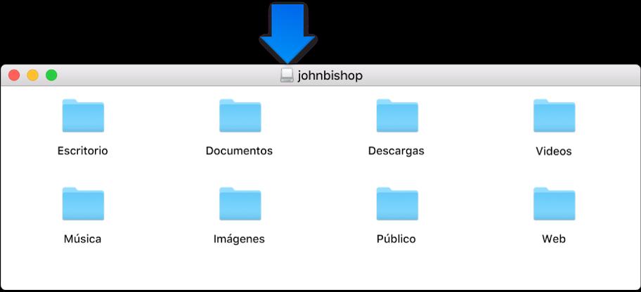 El ícono pequeño en la barra de título de la ventana de la imagen de disco de la carpeta de inicio de un usuario eliminado.