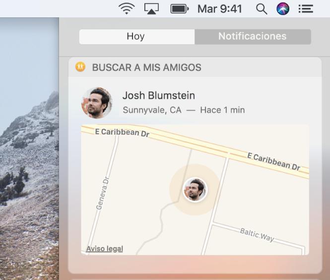 """El widget """"Buscar a mis amigos"""" en la vista Hoy del centro de notificaciones mostrando un mapa con la ubicación de un contacto."""