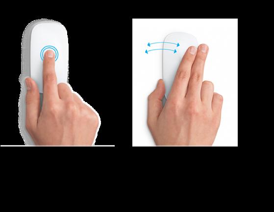 Ejemplos de gestos del mouse para acercar y alejar el contenido de una página web, y alternar entre apps en pantalla completa.