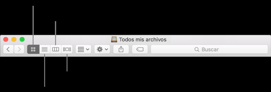 Los botones Ver en una ventana del Finder.