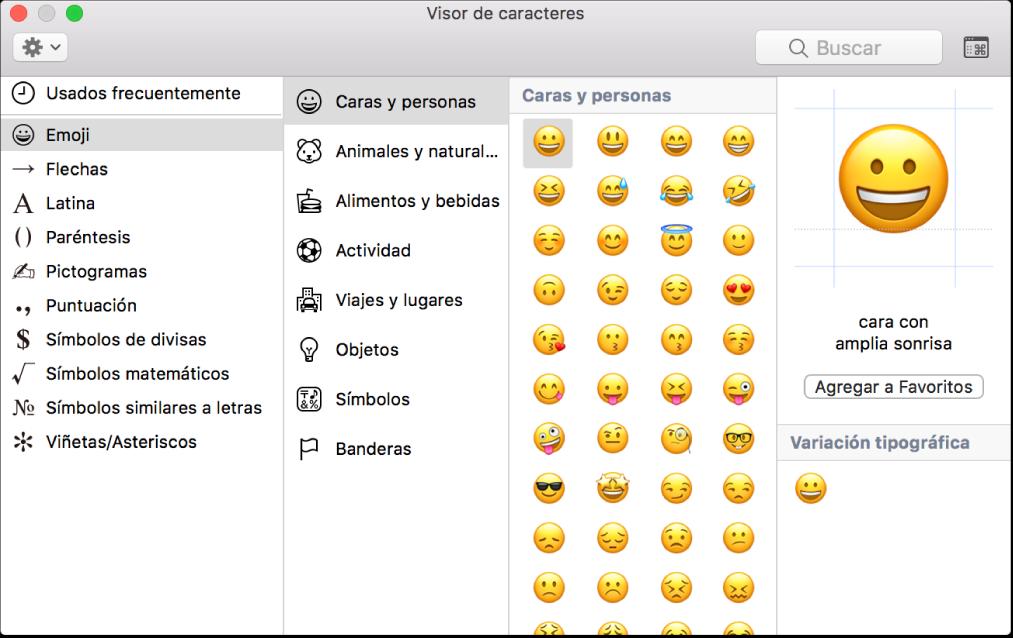 Visor de Caracteres muestra emoji y símbolos.