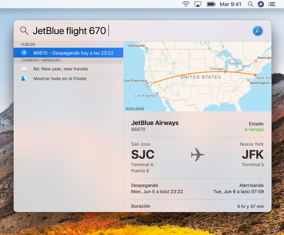 La ventana de Spotlight mostrando los resultados del estado de un vuelo.