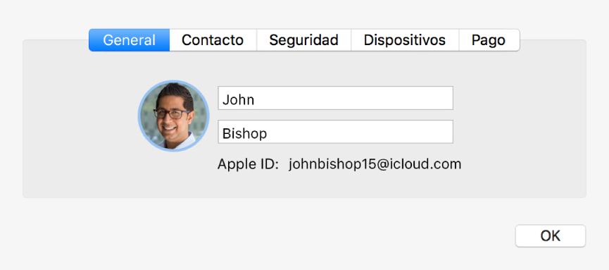 """Cuadro de diálogo """"Detalles de la cuenta"""" del panel de preferencias iCloud"""
