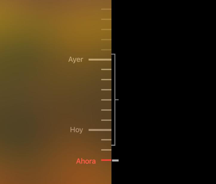 Marcas grises en la línea del tiempo de los respaldos. La marca rojo indica el respaldo que estás explorando.