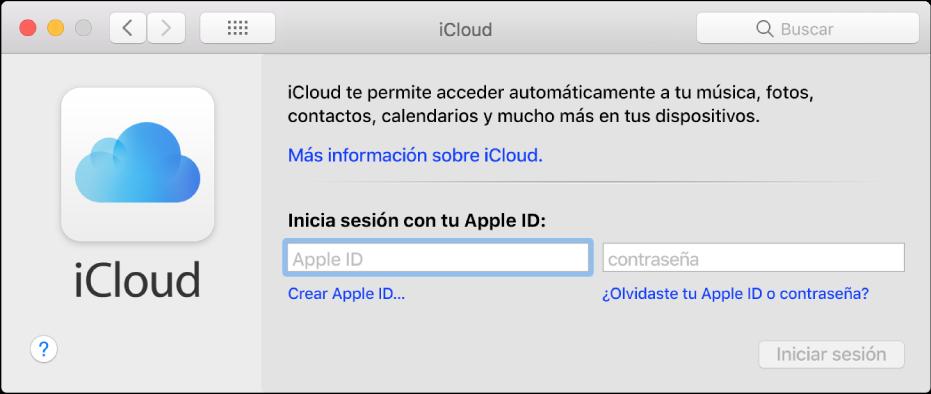 El panel de preferencias iCloud, listo para que el usuario ingrese el nombre y la contraseña de un AppleID.