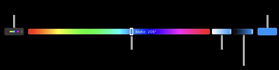 El Touch Bar mostrando los reguladores de matiz, saturación y brillo para el modelo HSB. Al extremo izquierdo está el botón para mostrar todos los perfiles; a la derecha el botón para guardar un color personalizado.