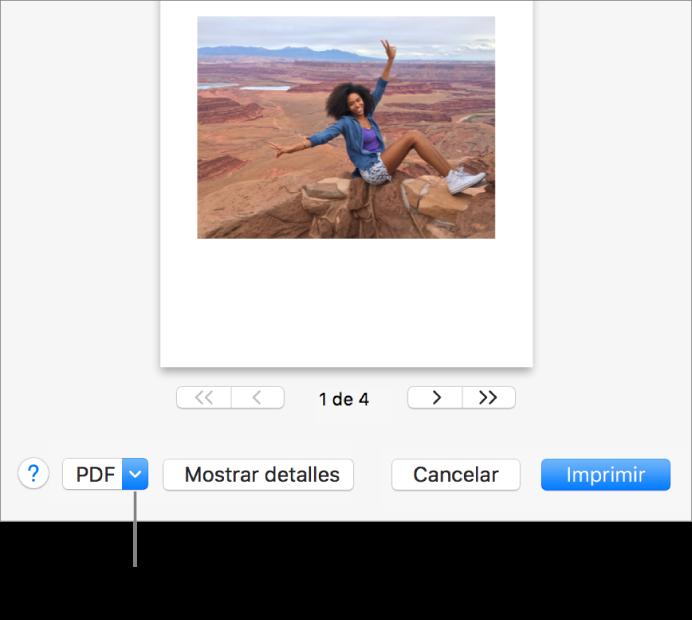 """Haz clic en el menú desplegable PDF y selecciona """"Guardar como PDF""""."""