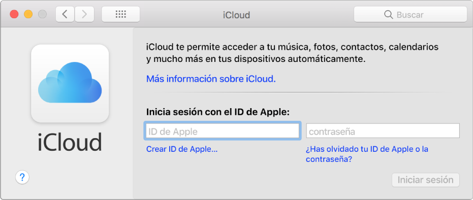 Panel de preferencias iCloud, listo para introducir el nombre y la contraseña del ID de Apple.