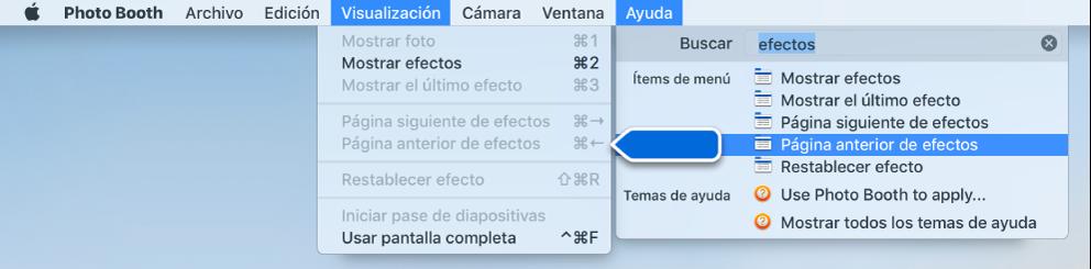 El menú Ayuda de Photo Booth con un resultado de búsqueda para una opción de menú seleccionado y una flecha señalando el ítem en los menús de la app.