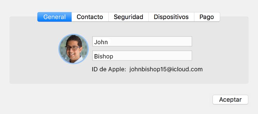 """Cuadro de diálogo """"Datos de la cuenta"""" del panel de preferencias iCloud"""