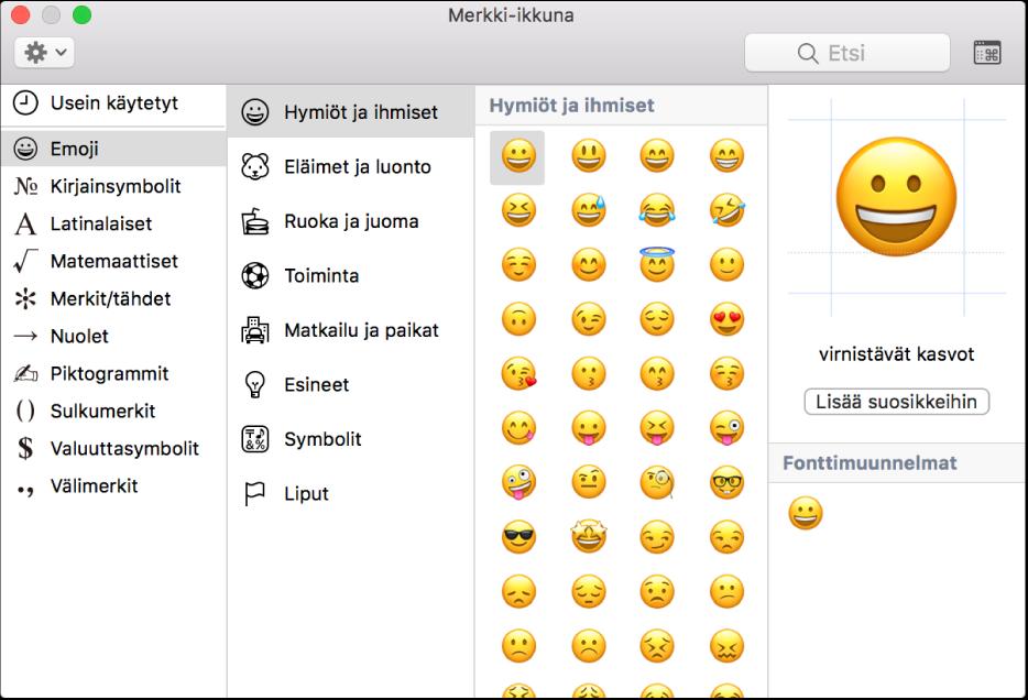 Emojit ja symbolit näkyvät Merkki-ikkunassa.