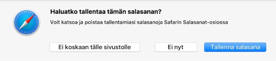 Valintaikkuna, joka kysyy, haluatko tallentaa verkkosivuston salasanan.