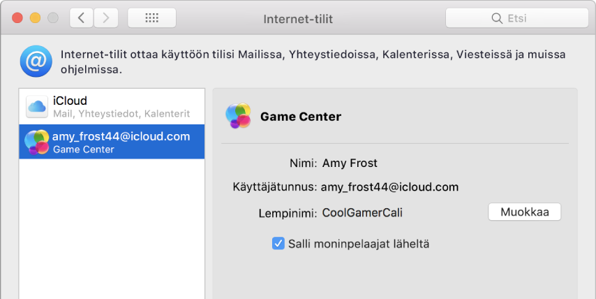 Game Center -tili Internet-tileissä.