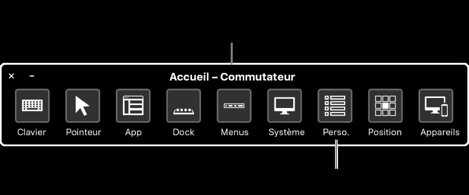 Utilisez le panneau d'accueil de Contrôle de sélection pour émuler le matériel et accéder à l'interface utilisateur. Des sous-fenêtres personnalisées peuvent être disponibles pour des utilisations spécialisées.