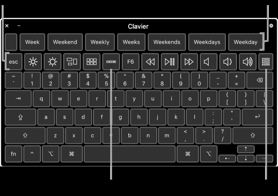 Clavier d'accessibilité avec des suggestions en haut. En-dessous se trouve une rangée de boutons permettant aux commandes système d'effectuer des opérations, comme ajuster la luminosité de l'écran, afficher la TouchBar à l'écran et afficher des sous-fenêtres personnalisées.