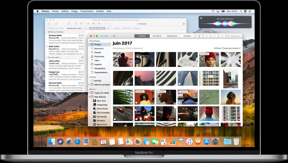 Un ordinateur Mac affichant des apps ouvertes sur le bureau.