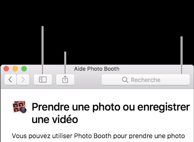 La fenêtre Aide avec le bouton dans la barre d'outils qui permet d'afficher plus de rubriques, le bouton pour partager une rubrique et le champ de recherche qui permet de rechercher de l'aide sur votre Mac.