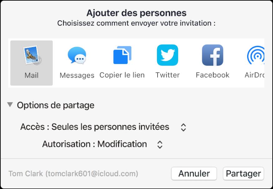 Fenêtre Ajouter des personnes affichant les apps que vous pouvez utiliser pour envoyer des invitations et les options de partage de documents.