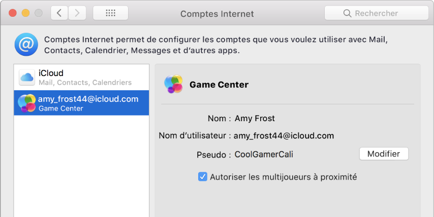 Compte Game Center dans ComptesInternet.