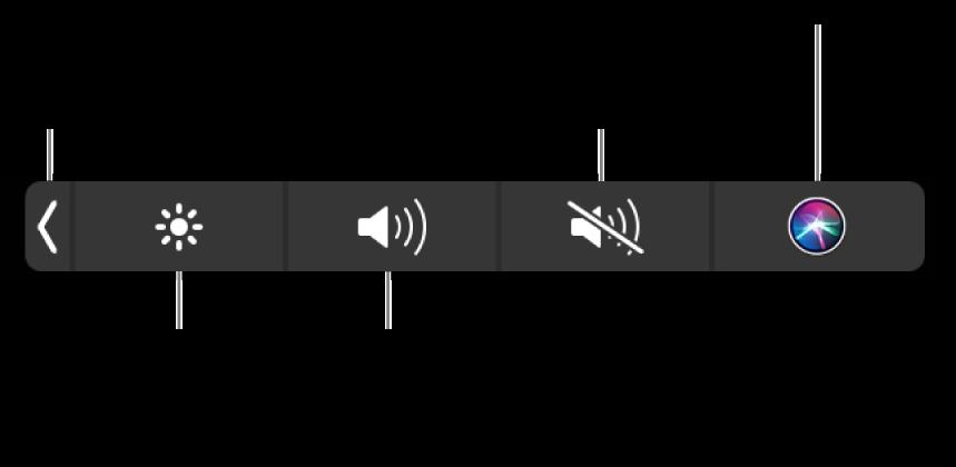A visszazárt Control Strip gombokat tartalmaz, amelyek (balról jobbra) a következők: a Control Strip kibontása, a képernyő fényerejének és a hangerőnek a növelése és csökkentése, a némítás, a némítás feloldása, valamint a Siri megkérdezése.