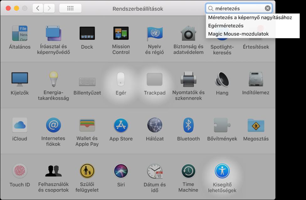 """A Rendszerbeállítások ablak a """"nagyítás"""" ikont megjelenítve a keresőmezőben, az egyező találatok listája a keresőmező alatt és három kiemelt beállításikon."""