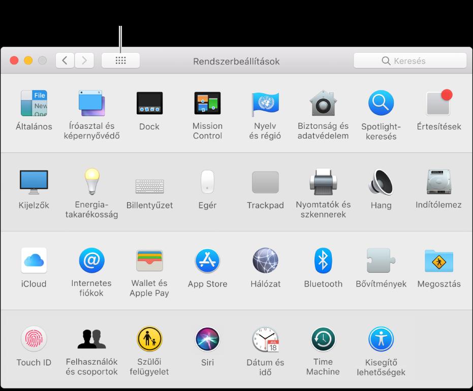 A Rendszerbeállítások ablak az ikonok rácsát megjelenítve. Az ablak eszköztárán kattintson Az összes megjelenítése gombra a rendszerbeállítások listában történő megjelenítéséhez vagy a lista megjelenésének módosításához.