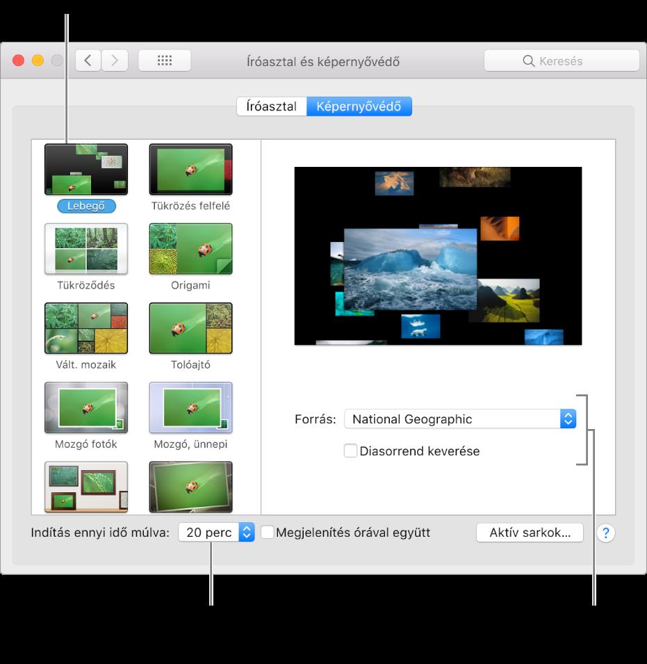 A Rendszerbeállítások ablak Képernyővédő panelje.