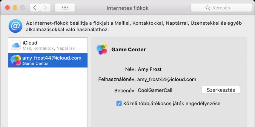 Game Center-fiók az Internetes fiókokban.