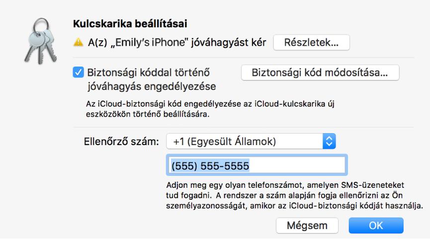 Az iCloud-kulcskarika párbeszédablaka a jóváhagyást kérő eszköz nevével és a mellette látható Részletek gomb.