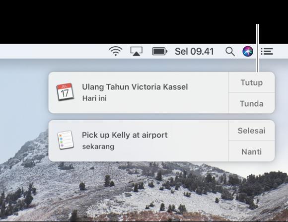 Pemberitahuan dari app Kalender dan Pengingat di pojok kanan atas layar.