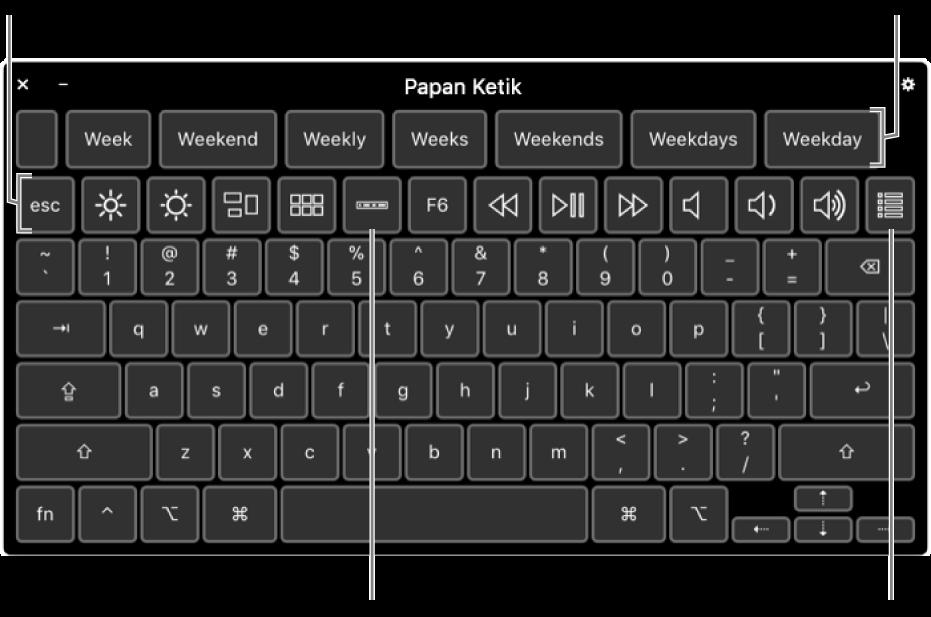 Papan Ketik Aksesibilitas dengan saran pengetikan di sepanjang bagian atas. Di bawah adalah baris tombol untuk kontrol sistem untuk melakukan sesuatu seperti menyesuaikan kecerahan layar, menampilkan Touch Bar pada layar, dan menampilkan panel khusus.