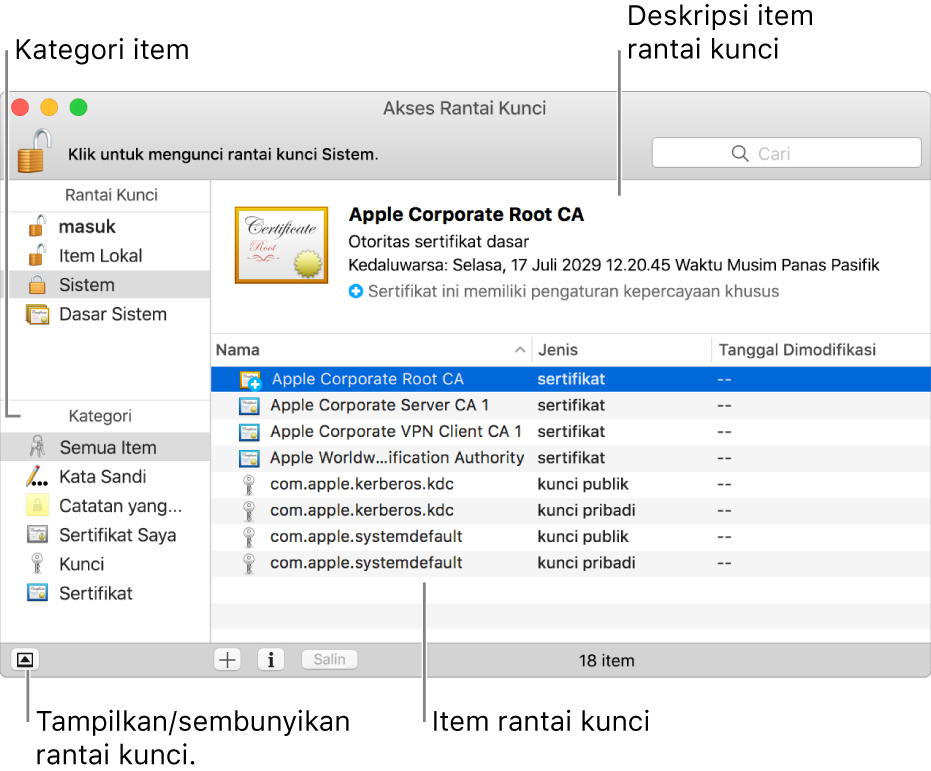 Area utama jendela Akses Rantai Kunci: daftar kategori, daftar item rantai kunci, dan deskripsi item rantai kunci.