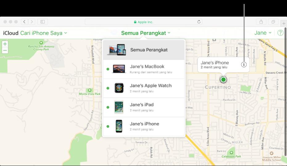 Peta di Cari iPhone Saya di iCloud.com menampilkan lokasi Mac.