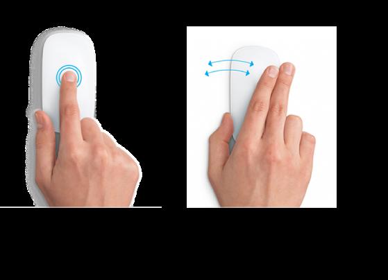 Esempi di azioni del mouse per ingrandire o ridurre una pagina web e spostarsi tra le app a tutto schermo.