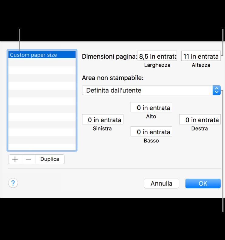 Fai clic sul pulsante Aggiungi per aggiungere delle nuove dimensioni di pagina. Per modificare il nome delle dimensioni pagina personalizzate, fai doppio clic sul nome, quindi digitane uno nuovo. Scegli una stampante dal menu a comparsa per usare i relativi margini standard oppure inserisci i valori personalizzati nei campi sottostanti.