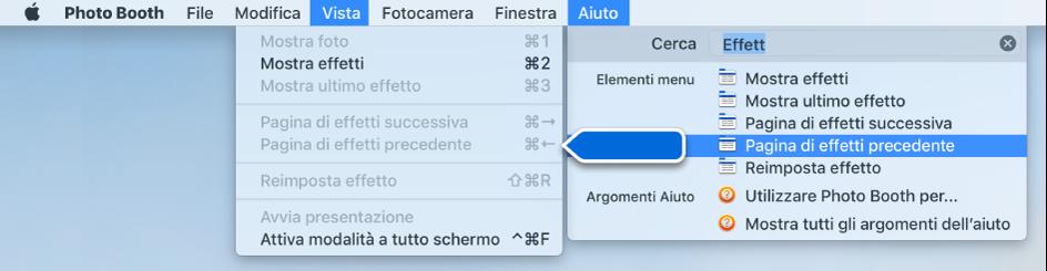 Il menu Aiuto di Photo Booth con un risultato di ricerca per un elemento del menu selezionato e una freccia che punta sull'elemento nei menu dell'app.