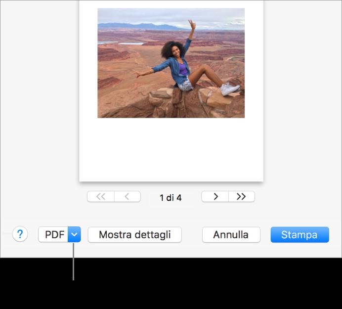 """Fai clic sul menu a comparsa PDF, quindi scegli """"Salva come PDF""""."""