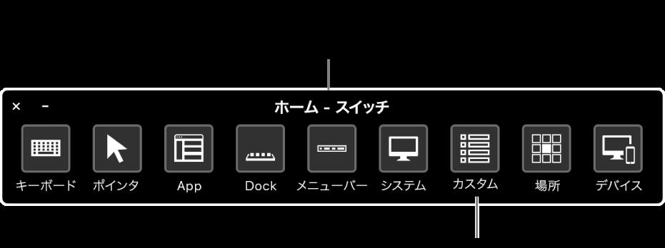 スイッチコントロールの「ホーム」パネルによってハードウェアをエミュレートし、ユーザインターフェイスにアクセスします。特殊な用途向けにカスタムパネルを利用できる場合があります。