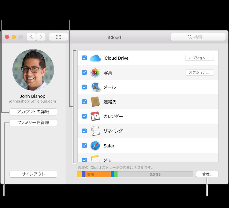 すべての機能が選択されている「iCloud」環境設定。