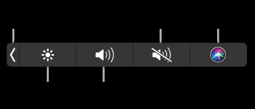 버튼이 있는 축소된 Control Strip, 왼쪽에서 오른쪽까지 Control Strip을 확장하여 디스플레이 밝기 및 음량을 늘리거나 줄이고 소리를 끄거나 켜고 Siri에게 물어볼 수 있습니다.