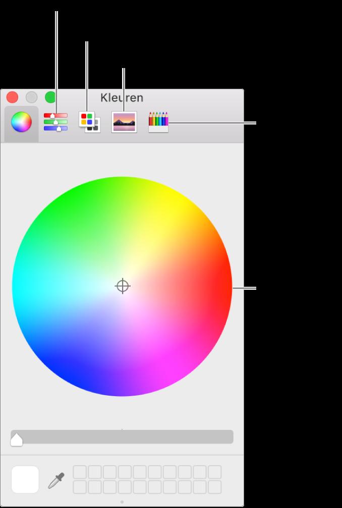 In het venster 'Kleuren' zie je de knoppen voor kleurenregelaars, kleurenpaletten, afbeeldingenpaletten en potloden in de knoppenbalk, alsook het kleurenwiel.