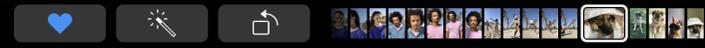 De TouchBar met speciale knoppen voor Foto's, zoals de favorietenknop en de draaiknop.