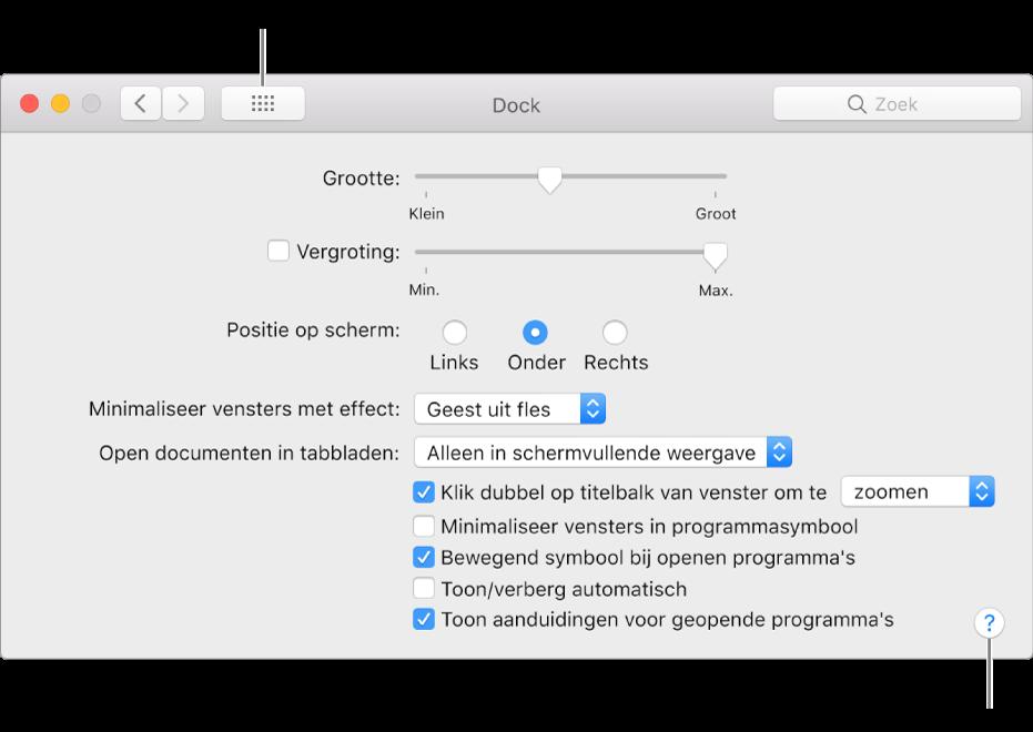 Klik op 'Toon alles' om alle voorkeurensymbolen te tonen. Klik op de knop met het vraagteken om de Help-tekst voor het paneel weer te geven.
