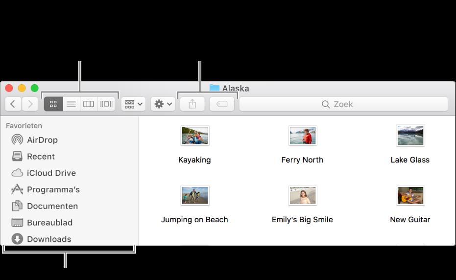Een voorbeeld van een Finder-venster.