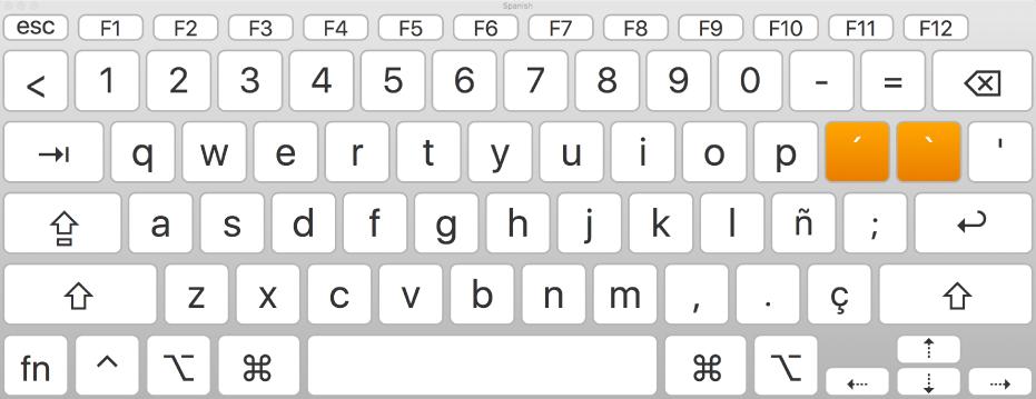 De toetsenbordweergave met Spaanse indeling.