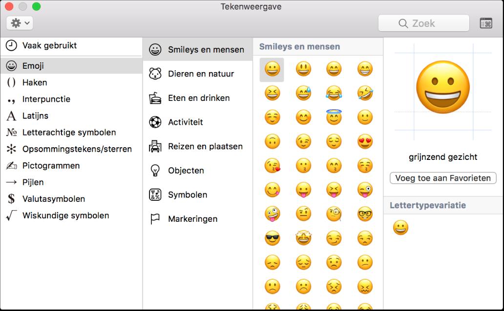 Tekenweergave met emoji en symbolen.