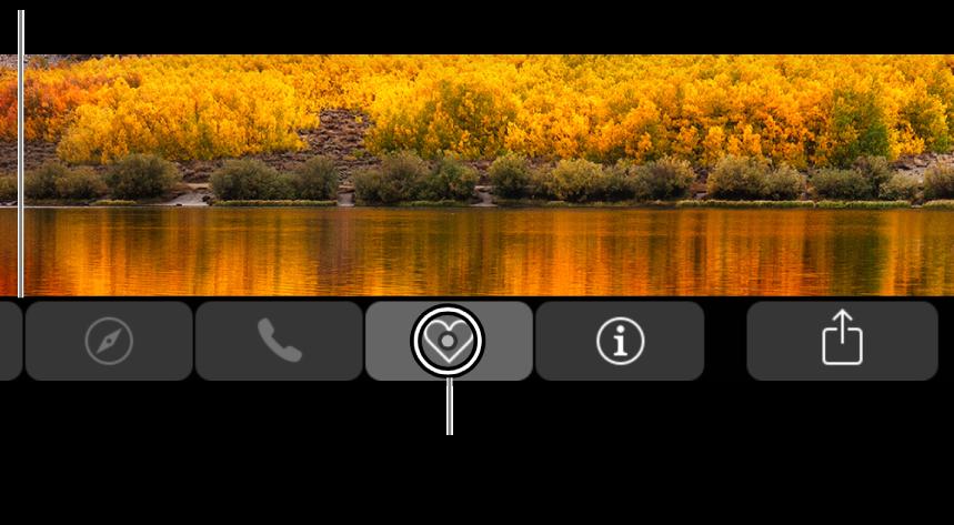 De ingezoomde TouchBar onder in het scherm; de cirkel om een knop verandert wanneer de knop wordt geselecteerd.